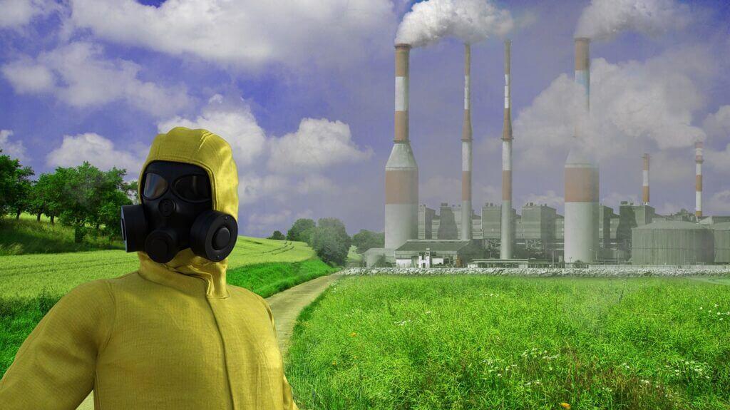 Man Gas Mask Industry Smoke  - TheDigitalArtist / Pixabay Drawing on Global Warming